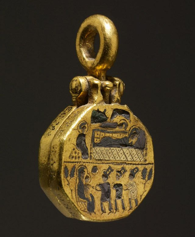Reliquary Pendant with the Adoration of the Magi. Byzantine 10th–11th century. Silver, gold, niello. The hinged loop at the top would have been for suspension, so that the locket could have been worn or held. The locket contains a cavity, closed by a sliding pin, that probably contained relics.