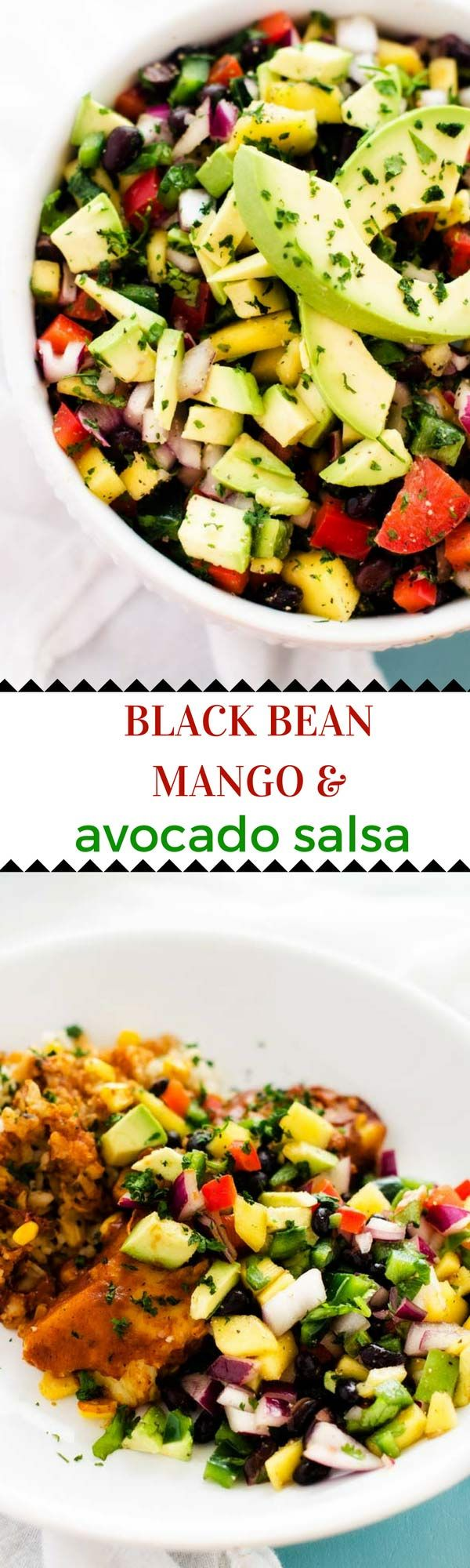 Black Bean, Mango & Avocado Salsa - This Black Bean, Mango & Avocado Salsa is the perfect addition to your Mexican night!  Easy to make ahead and so delicious, it makes any meal special.  (Gluten Free, Dairy Free, Vegan) It pairs beautifully with LEAN CUISINE® MARKETPLACE Cheese & Fire-Roasted Chile Tamale for a quick and easy meal!  #ad #FeedYourFoodie