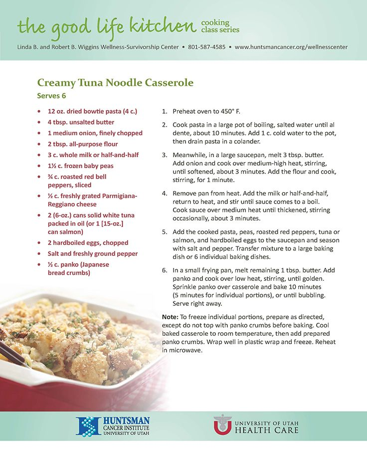 59 best chemotherapy recipes images on pinterest cleaning this recipe for creamy tuna noodle casserole is from the june 2014 cooking class focusing on soft foods for patients who have difficulty swallowing forumfinder Choice Image