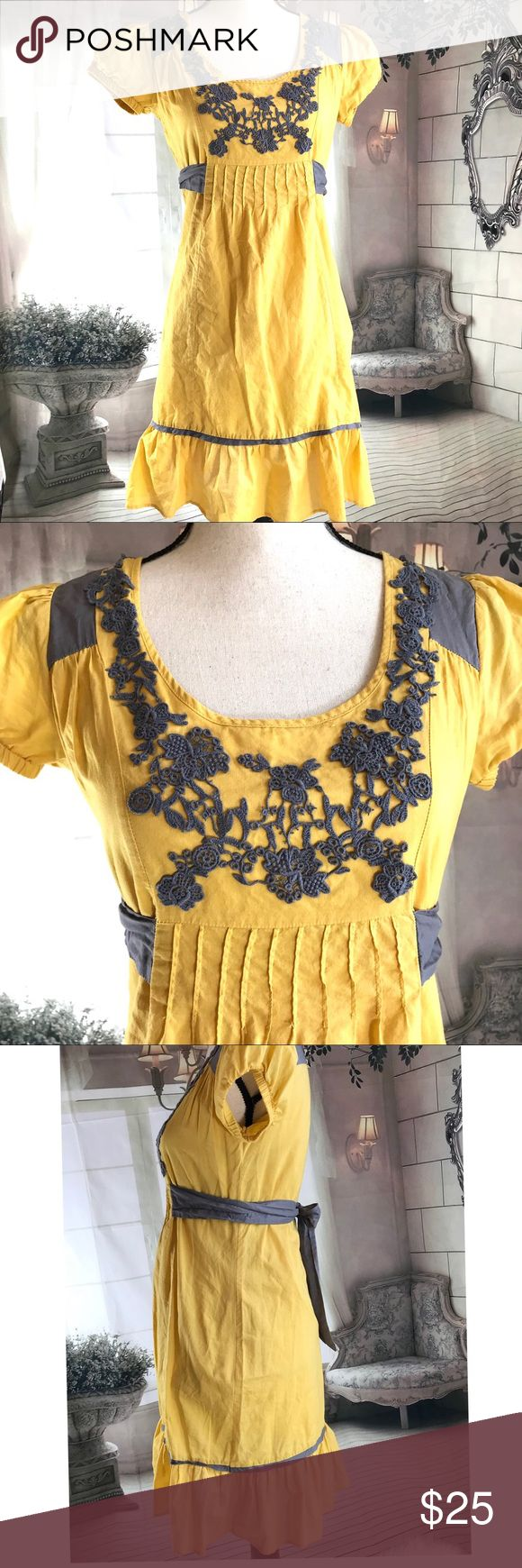 Sam & Max dress Boho Style dress with cute embroidery and ruffled hem. Mustard yellow and Gray colored. Sam & Max Dresses