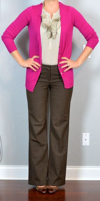 Outfit Posts: outfit post: bright pink cardigan, ruffle blouse, brown editor pants