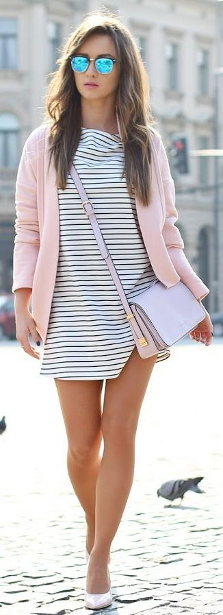 #summer #outfits / pink + stripes