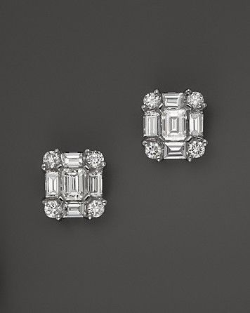 Diamond Emerald-Cut Earrings in 14K White Gold, .85 ct.tw. | Bloomingdale's