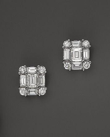Diamond Emerald-Cut Earrings in 14K White Gold, .85 ct.tw.