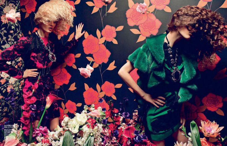 Vogue China September 2012: Daria Strokous, China September, Femme Fatale, September 2012, Fashion Editorial, Vogue China, Flower, Floral, Editorial Fashion