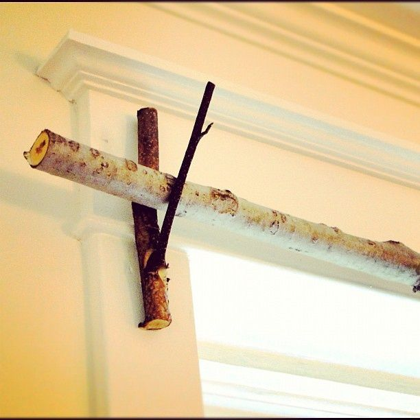 This is about to happen in my living room! Tree Branch Curtain Rod