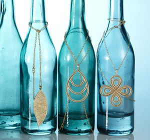Use bottles for a chic necklace display $5 Paparazzi Accessories (Really, only $5!) Kim Heniadis Ind. Consultant #22518  www.fashionablycloudy.com