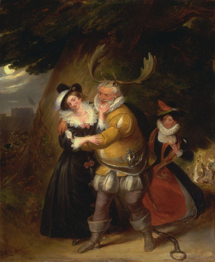"Falstaff at Herne's Oak, from ""The Merry Wives of Windsor,"" Act V, Scene v. James Stephanoff. 1832."