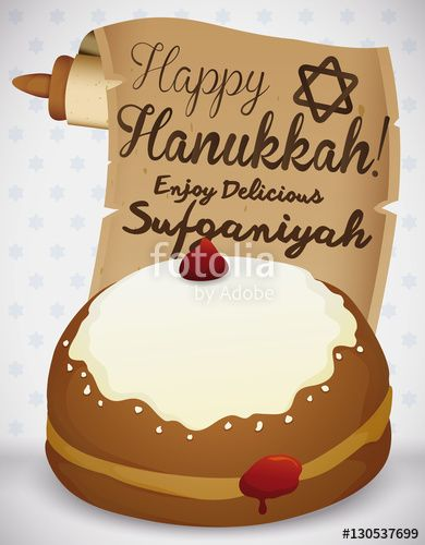 Sweet Sufganiyah with Traditional Scroll Celebrating Hanukkah