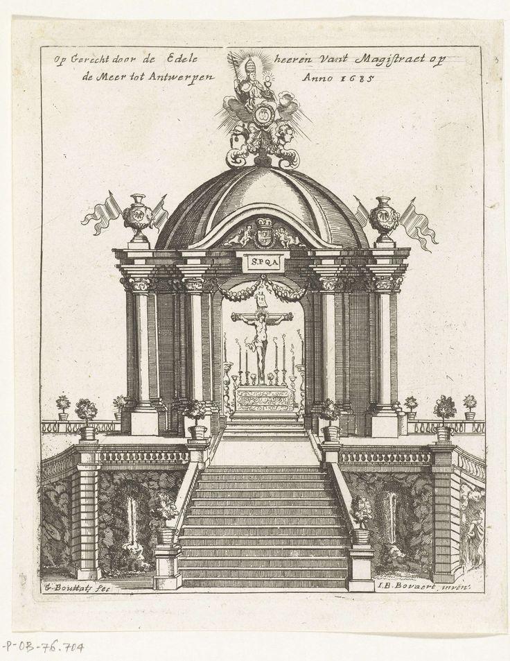 Gaspar Bouttats | Altaar in de vorm van een tempietto opgericht magistraten op de Meir, 1685, Gaspar Bouttats, 1685 | Altaar in de vorm van een tempietto, opgericht door de magistraten van de stad Antwerpen op de Meir. Onderdeel van de illustraties van de versieringen opgericht te Antwerpen bij de viering in 1685 van het eeuwfeest van de bevrijding van de stad door de hertog van Parma in 1585.