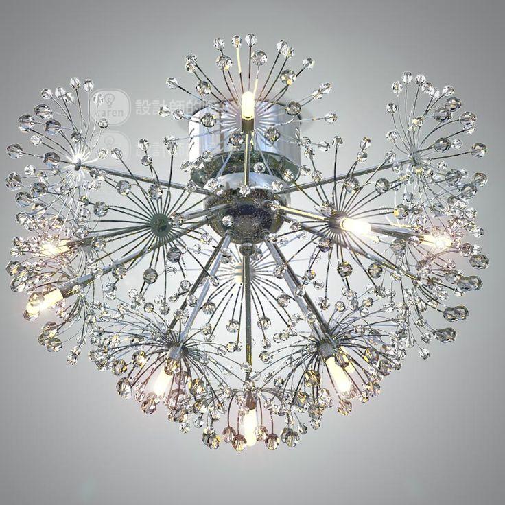 Goedkope Europese stijl minimalistische woonkamer stijl eetzaal creatieve lamp LED paardebloem crystal plafondlamp, koop Kwaliteit plafondverlichting rechtstreeks van Leveranciers van China: