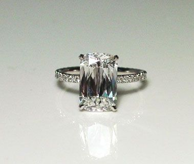 The most beautiful perfect ring in the entire world. -- Similar to the cushion cut, the ashoka cut is a rectangular shape with rounded corners and has 62 facets. The scarcity of extra-long rough diamonds makes the cut extremely rare and one-of-a-kind.