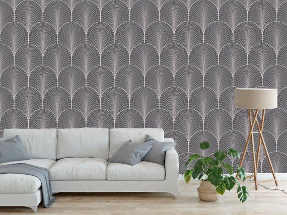 Peel And Stick Removable Self Wallpaper Modern Deco Fan Etsy Modern Deco Peel And Stick Wallpaper Home Wallpaper