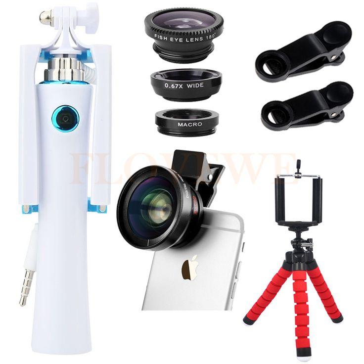 HD 0.45X Super Wide Angle Macro Lenses Fisheye Lentes Camera Lens Kit Mini Tripod Holder Selfie Stick For iPhone Xiaomi Huawei
