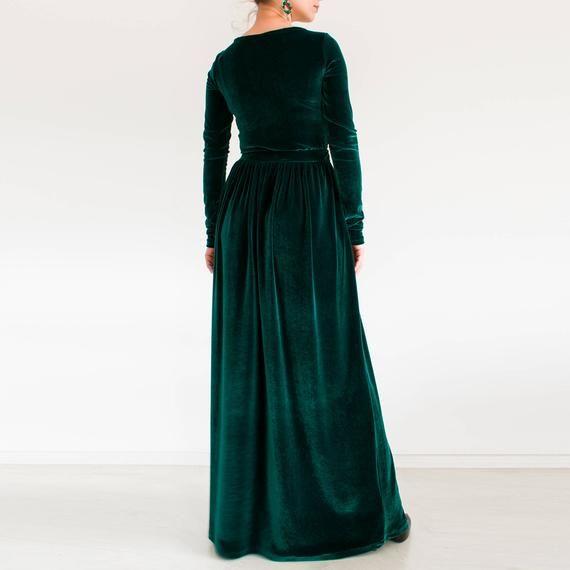 gruenem samt maxi kleid plus size bescheidenes kleid lange etsy