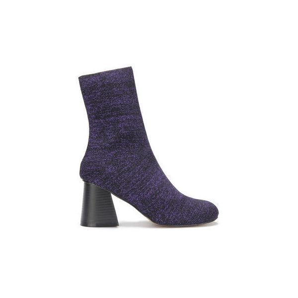 Yoins Glitter Embellished Elastic Short Boots in Purple (98 BAM) ❤ liked on Polyvore featuring shoes, boots, ankle booties, glitter ankle boots, purple ankle boots, glitter ankle booties, slim ankle boots and bootie boots