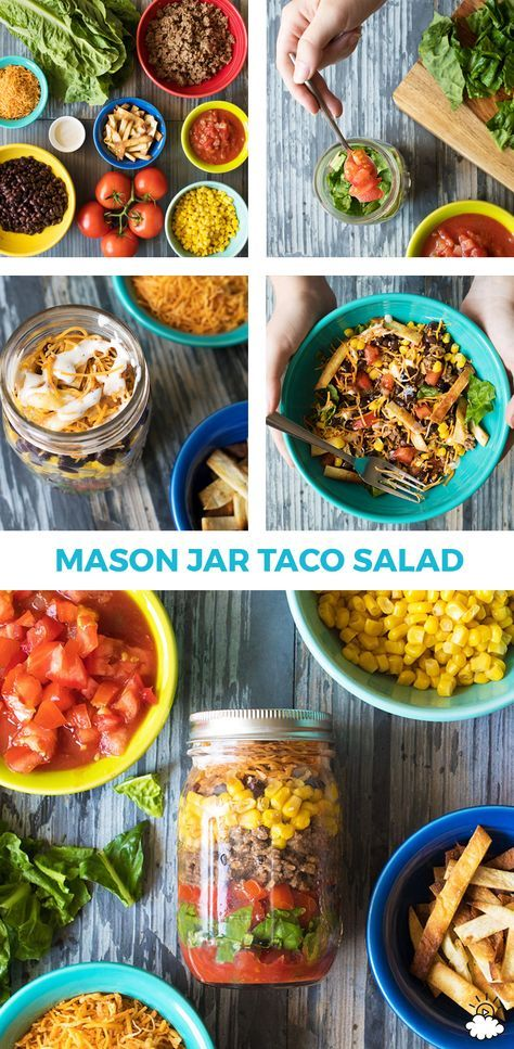Our easy and fun-to-make Mason jar taco salad recipe is the perfect lunch to pack for work! All you need is a Mason jar and your favorite taco ingredients to enjoy a yummy taco salad on the go.