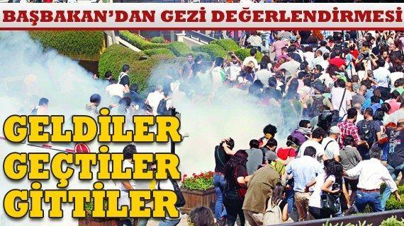"""Başbakan Erdoğan'dan Gezi değerlendirmesi 12 Temmuz 2013 - """"Taksim'de felan filan gelip şiddet estirenler olabilir. Yoksa bunlara üzüldünüz mü? Sakın üzülmeyin. Kimin kim olduğu ortaya çıktı. Bugünler, adeta turnusol kağıdı gibi herkesi ortaya çıkarıyor. Ne oldu? Geldiler, geçtiler, gittiler. Ama Türkiye her geçen gün daha iyiye birlik beraberlik içinde yürüyecek. En büyük meydan Taksim Meydanı değildir. Kazlıçeşme'dir. Kazlıçeşme'den daha büyük bir meydan var. O da sandıktır"""" şeklinde…"""
