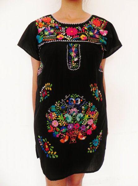 Vestidos mini - Mexico Mini Vestido Bordado Floral Verano Morado - hecho a mano por LadyBonita en DaWanda