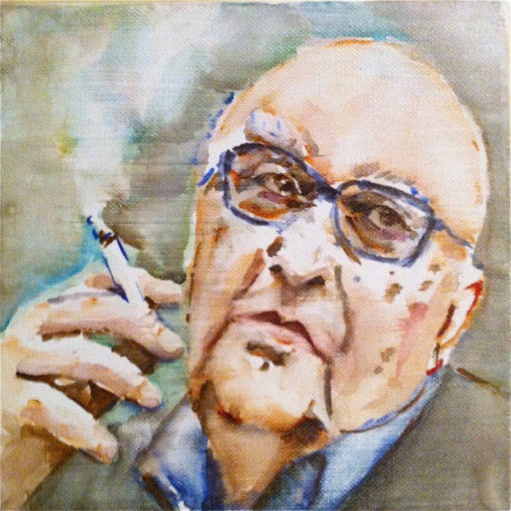 Andrea Camilleri watercolor on canvas 20x20