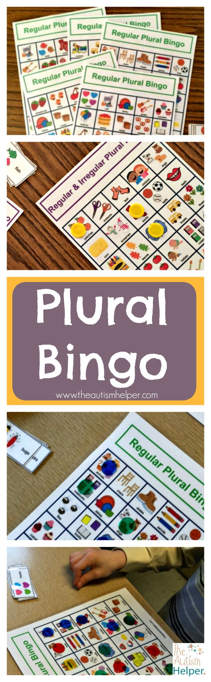 Here's a super fun way to work on regular & irregular plurals with some of your students. Plural Bingo comes with multiple regular, irregular & combo boards with different pictures to keep it challenging - Thanks Sarah the Speech Helper!  From theautismhelper.com
