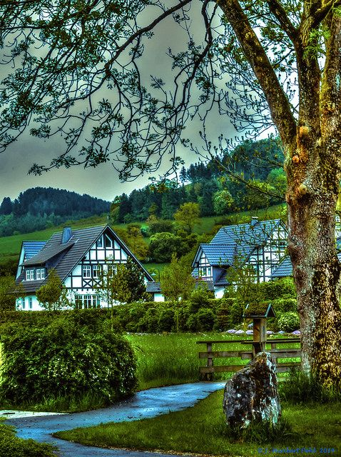 Attendorn - Niederhelden in Sauerland in the rain - Germany