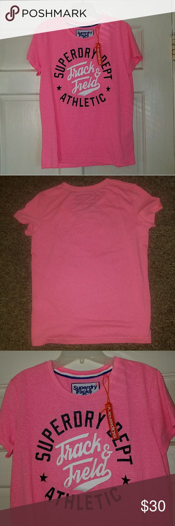 NWT - Pink Superdry Women's Athletic Tee sz. S Brand new with tags! Pink Superdry 'Pink Sorbet' women's atheltice tee. Size small. 100% Authentic. Superdry Tops Tees - Short Sleeve