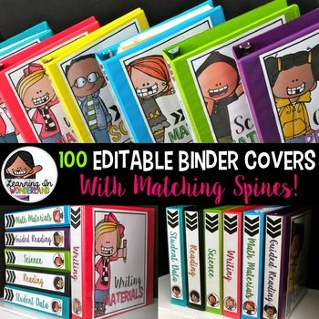 You are purchasing a set of 100 editable binder covers with matching spines! This design was originally released with a chevron background, but I received requests for a white set.
