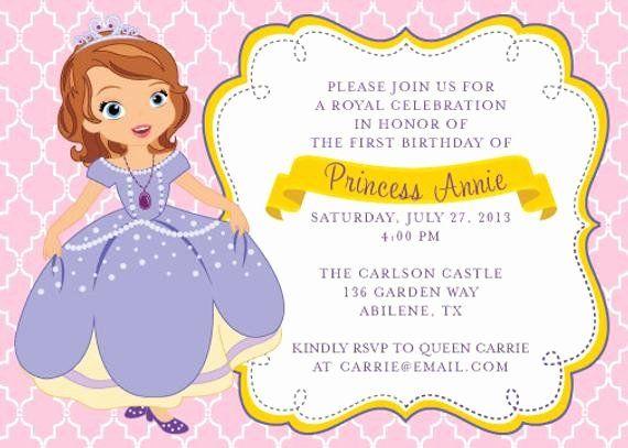 Sofia The First Invitation Template In 2020 Sofia Birthday Invitation Princess Sofia Invitations Birthday Invitation Card Template