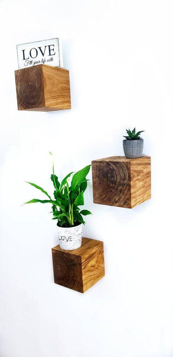 Solid Oak Beam Chunky Wooden Block Floating Shelves Hidden Etsy