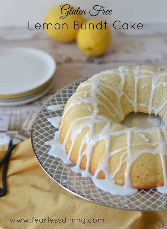The BEST moist and delicious gluten free and dairy free lemon bundt cake. Quick and easy this gluten free cake recipe also makes yummy cupcakes!