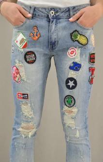 Γυναικείο τζίν boyfriend με patch | Παντελόνια jeans - Jeans & Ντένιμ
