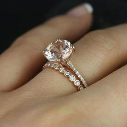 Eloise solitaire & petite bubbles rose gold morganite and diamonds cathedral wedding set