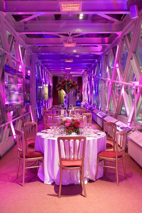 How to plan a wedding. Evening reception on the walkway at the word famous Tower Bridge, a super wedding venue in London.