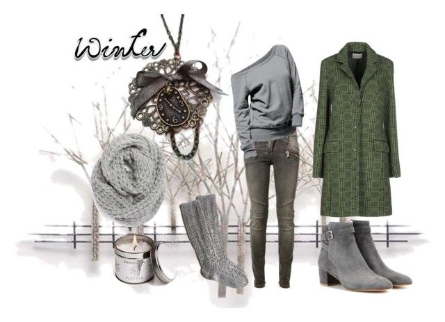 """""""Grey Winter"""" by hemos on Polyvore featuring Home Decorators Collection, Balmain, Ballantyne, Gianvito Rossi and Halogen"""