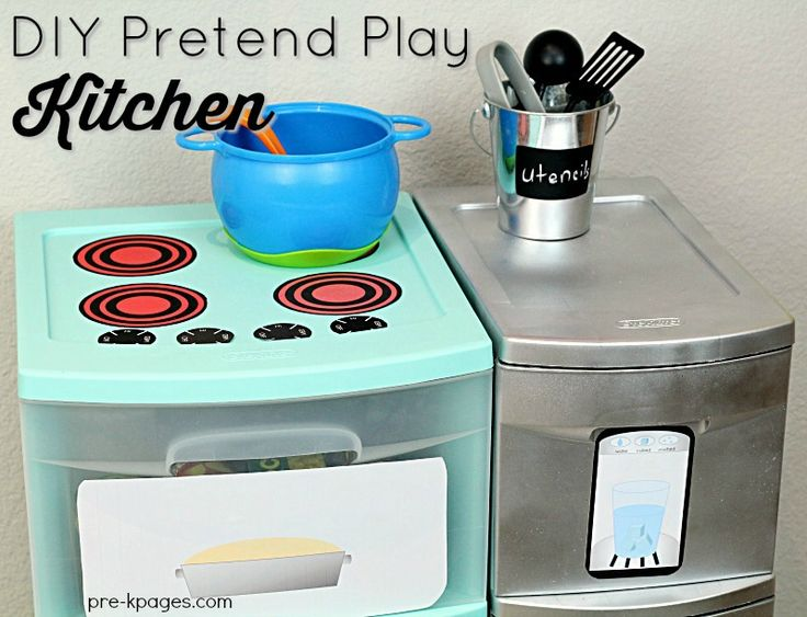 DIY Printable Play Kitchen Props. Quickly and easily transform inexpensive plastic storage containers into a fun pretend play kitchen for your kids at home or in the classroom! - Pre-K Pages