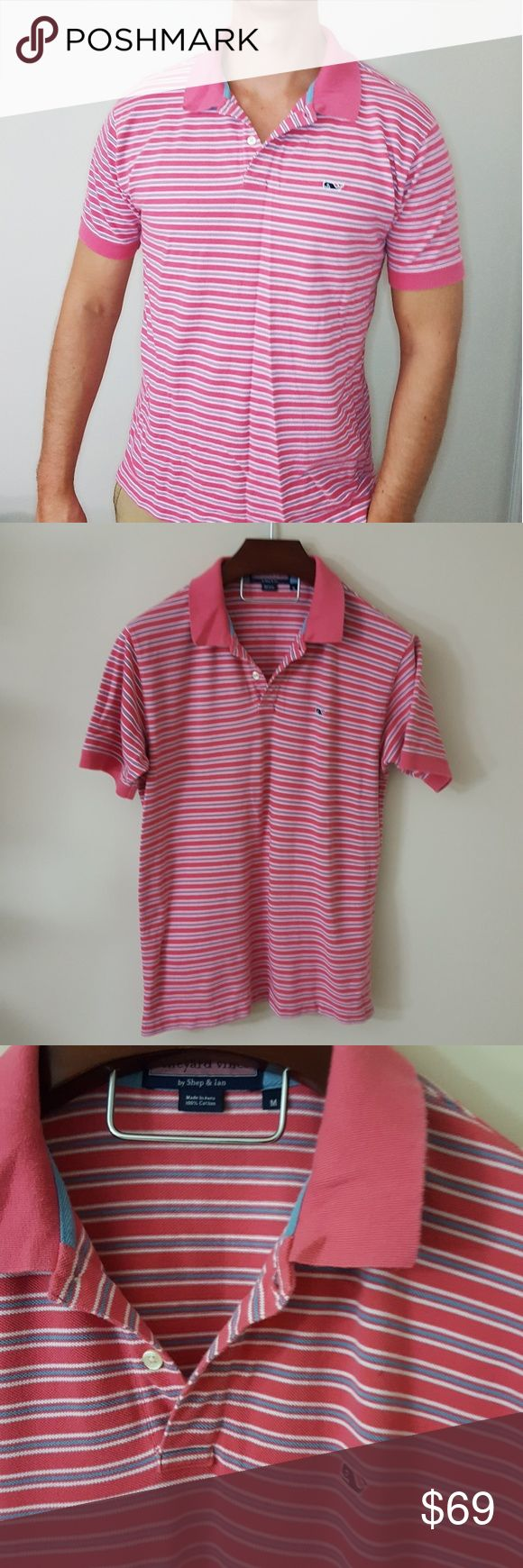 "Vineyard Vines | mens striped polo shirt | M In excellent condition! Mens striped polo shirt, size medium.  My husband is 6'3"" for reference, so it won't be too short on tall guys! Used item: pictures show any signs of wear. Bundle up! Offers always welcome:) Vineyard Vines Shirts Polos"