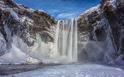 Skogafoss vízesés, Izland, tél