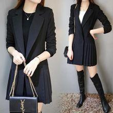 2016 Yeni arrivel bahar sonbahar kadın marka Ince siyah blazer pilili yan uzun ceket ceket boyutu S-2XL, F3884(China (Mainland))