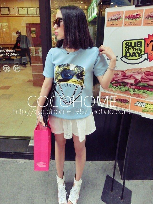 Сими домом для 2014 весной и летом новые корейские женщины глаз бигуди ресницы отпечатков шею с коротким рукавом Taobao