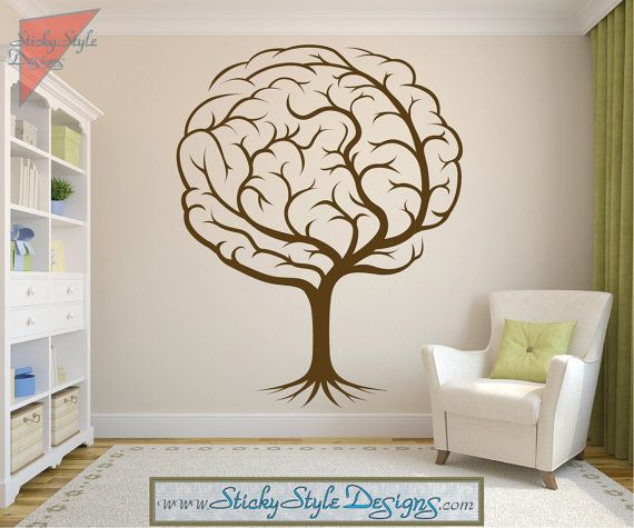 Abstract Brain Tree Decal - Neurology Neuroscience Psychology Medical Doctor Vinyl Wall Art Graphic Design Sticker Transfer Applique #T037