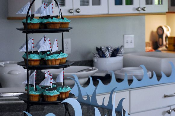 ocean themed party cupcakes | ... buffet table. The waves complement her sailboats on the sea cupcakes