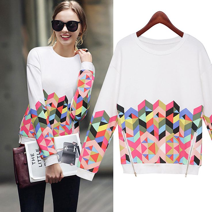 Plus Size Moletom Zipper Slit Hoodies Ladies 2016 Autumn Loose Diamonds Sweatshirt Women's Long Sleeve Moleton Feminino M073