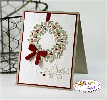 Stampin Up Wondrous Wreath card by Sandi @ www.stampingwithsandi.com