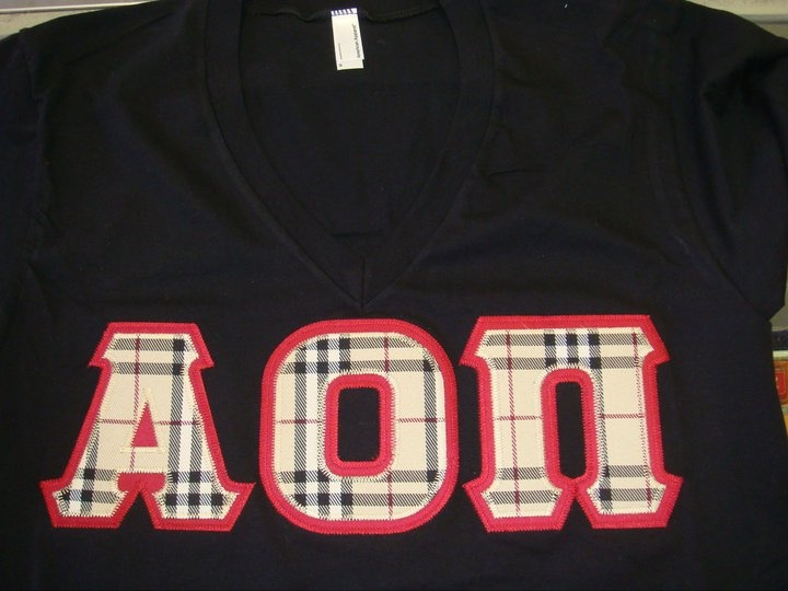 alpha omicron pi letters made with burberry fabric