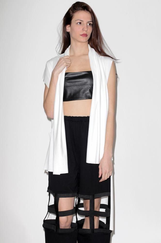 White Long Sleevless Cardigan