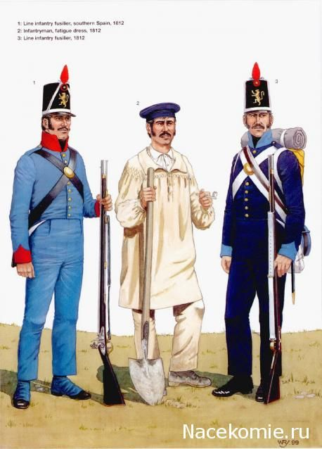 Spanish Army of the Napoleonic Wars (2) 1808-1812 1-Line infantry fusilier,southern spain 1812 2-Infantryman,fatigue dress 1812 3-Line infantry fusilier 1812