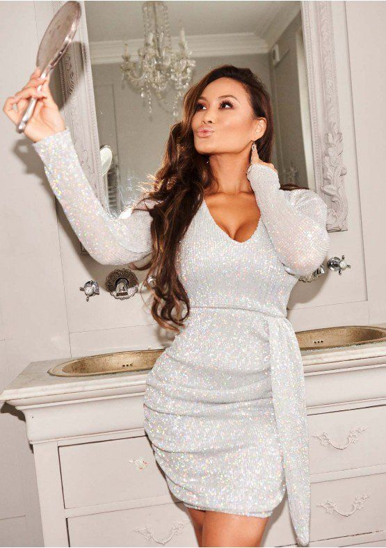 e66f1e7d6bc0 Rosalyn Silver Sequin Ruched Detail Dress | all i want for christmas ...