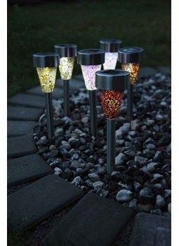 Solcelle bedlampe solcellelamper i farver (Lys lilla)
