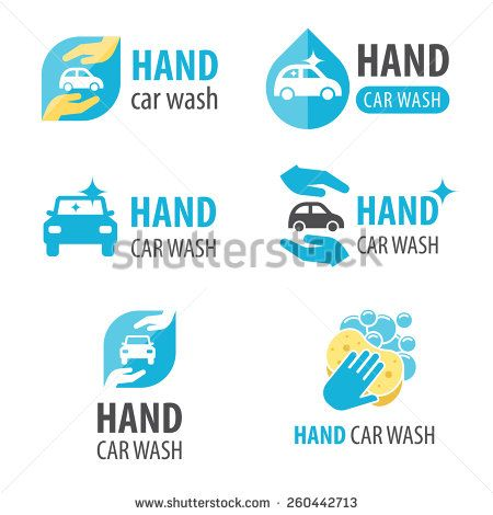 Vector set of hand car wash logotypes. Eps 10.